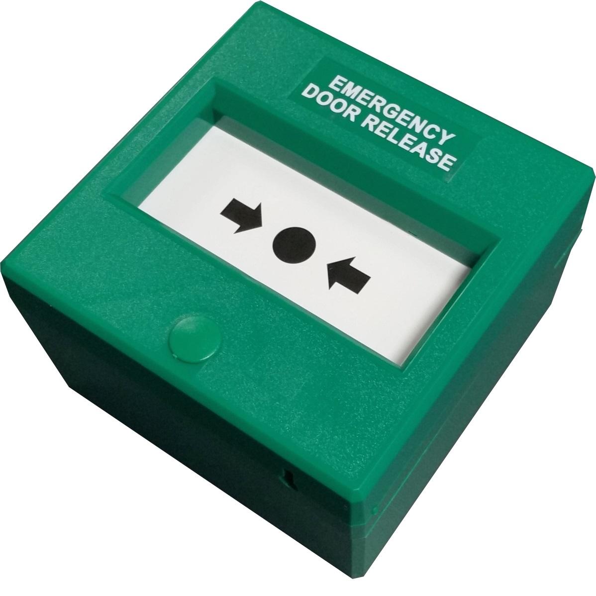 Green Quadruple Pole Call Point Emergency Door Release Like Glass Electronic